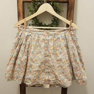 Floral Free People Button Front Cotton Miniskirt